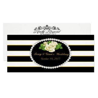 Bouquet rayé et rose noir épousant des cartes de carton d'invitation  10,16 cm x 23,49 cm