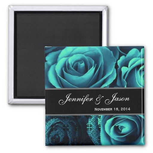Bouquet rose de mariage BLEU TURQUOISE avec la den Aimant Pour Réfrigérateur
