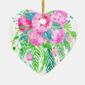 Bouquet rose de pivoine d'aquarelle ornement cœur en céramique