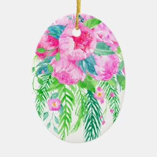 Bouquet rose de pivoine d'aquarelle ornement ovale en céramique