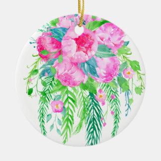 Bouquet rose de pivoine d'aquarelle ornement rond en céramique