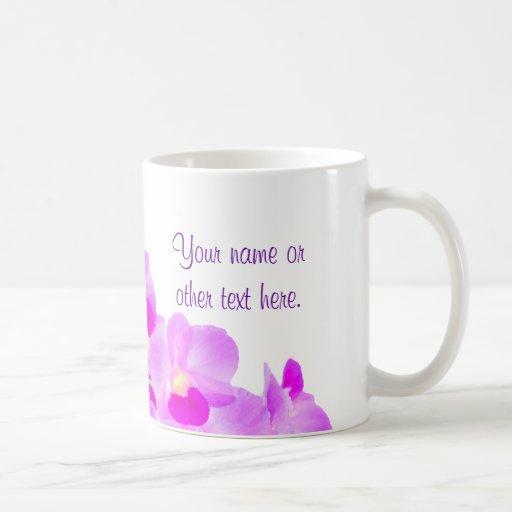 Bouquet rose d'orchidée tasse à café
