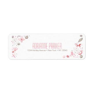 Bouquet rose doucement de floraison de nature étiquette d'adresse retour