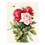 Bouquet rose victorien vintage carte postale