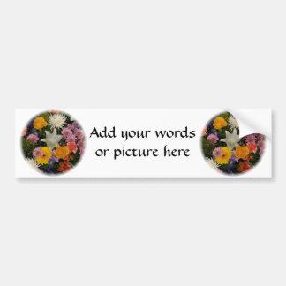 Bouquet : roses, mamans, lis, iris, dahlias autocollant pour voiture