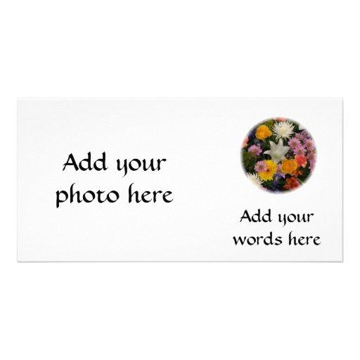 Bouquet : roses, mamans, lis, iris, dahlias photocarte personnalisée