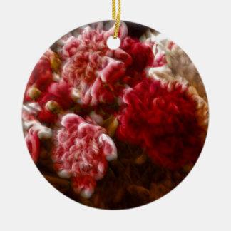 Bouquet rouge flamboyant de fleur de pivoine ornement rond en céramique