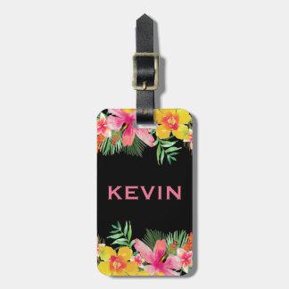 Bouquet tropical coloré de fleurs étiquette à bagage