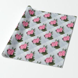 Bouquet vibrant de beaux roses roses papier cadeau
