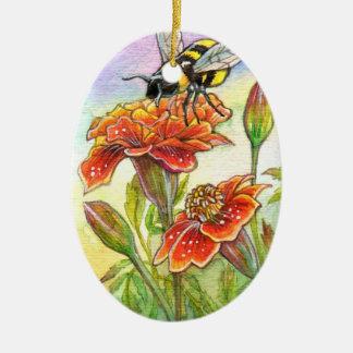 Bourdon et souci, iris ornement ovale en céramique