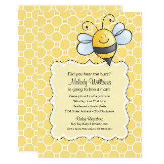 Bourdon jaune de l'invitation | de baby shower carton d'invitation  12,7 cm x 17,78 cm