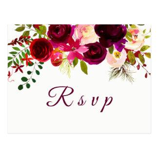 Bourgogne Boho floral rouge épousant la carte
