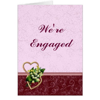 Bourgogne et faire-part rose de fiançailles carte de vœux