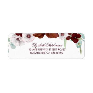 Bourgogne fleurit le mariage élégant étiquette d'adresse retour