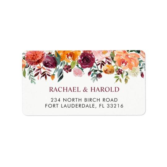 Bourgogne rougissent floral botanique rose étiquette d'adresse