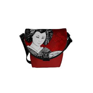 Bourse Messenger Geisha Rouge et Noir Sacoche