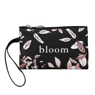 Bourse Rose botanique sur l'embrayage noir de fleur
