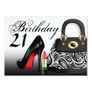 Bourse snob, talons hauts et anniversaire de rouge carton d'invitation  12,7 cm x 17,78 cm