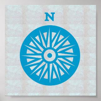 Boussole graphique de direction de BATEAU À VOILE Poster