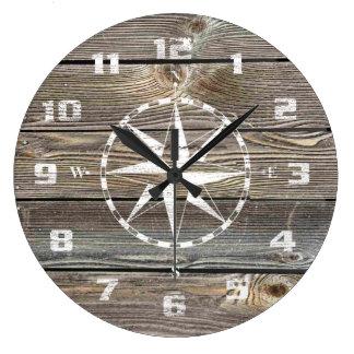 Boussole nautique rustique en bois semblante grande horloge ronde