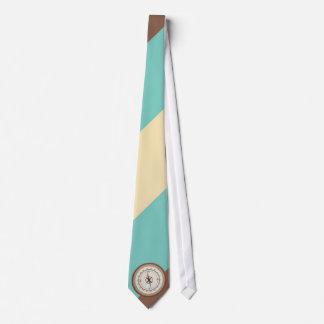 Boussole nautique sur rétro Brown crème bleu Cravates