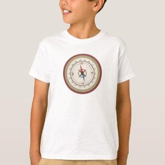 Boussole nautique sur rétro Brown crème bleu T-shirt