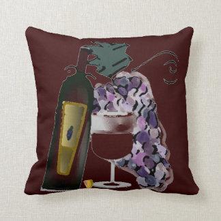 Bouteille de raisins du vin n coussin décoratif