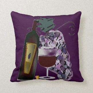Bouteille de raisins du vin n (pourpres) coussins carrés