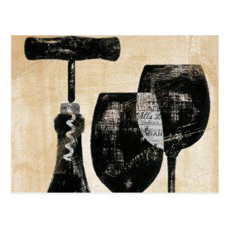 Bouteille de vin avec deux verres carte postale