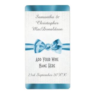 Bouteille de vin bleu-clair de mariage d'arc de étiquettes d'expédition