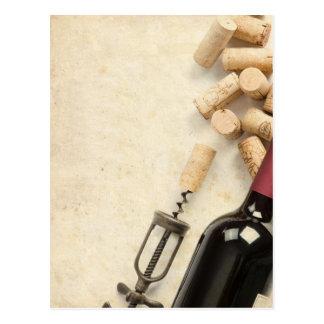 Bouteille de vin carte postale