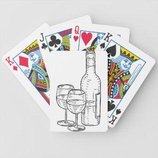 Bouteille de vin et style vintage en verre rétro cartes à jouer