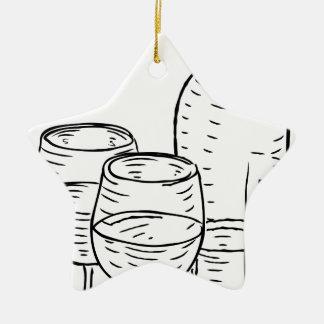 Bouteille de vin et style vintage en verre rétro ornement étoile en céramique