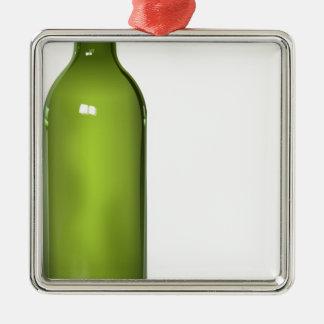 Bouteille de vin ornement carré argenté