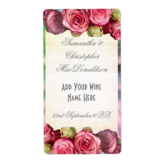 Bouteille de vin romantique florale de mariage de étiquette d'expédition