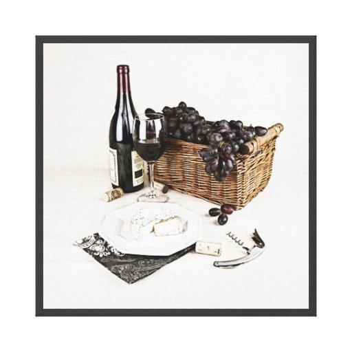 bouteille de vin verre raisin et fromage toile tendue zazzle. Black Bedroom Furniture Sets. Home Design Ideas