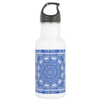 Bouteille D'eau Beau motif bleu et blanc de tuile de mandala