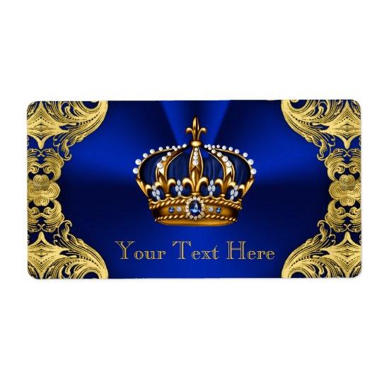 Bouteille d'eau bleue de prince baby shower d'or étiquette d'expédition