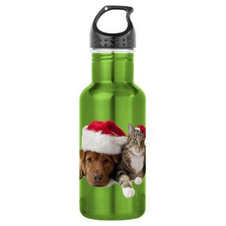 Bouteille D'eau Chats et chiens - chat de Noël - chien de Noël