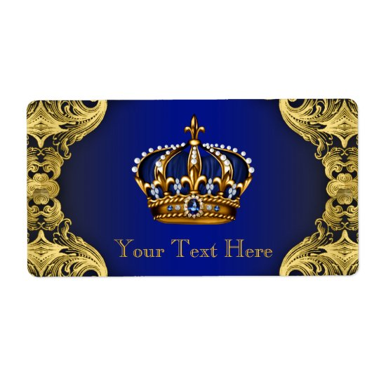 Bouteille d'eau de prince baby shower d'or de bleu étiquette d'expédition