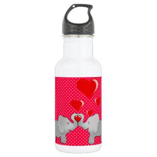 Bouteille D'eau Éléphants romantiques et coeurs rouges sur le pois