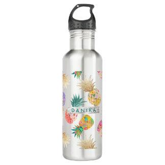 Bouteille D'eau En Acier Inoxydable Ananas de PixDezines Aloha+Aquarelle florale
