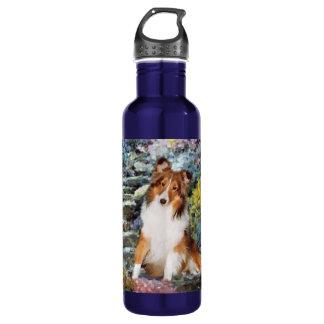 Bouteille D'eau En Acier Inoxydable Art de Sheltie de chien de berger de Shetland