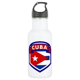 Bouteille D'eau En Acier Inoxydable Bouclier cubain de drapeau