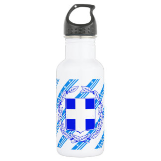 Bouteille D'eau En Acier Inoxydable Drapeau grec de rayures