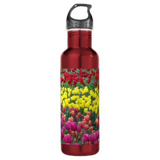 Bouteille D'eau En Acier Inoxydable Jardin de tulipe floral