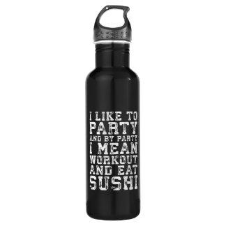 Bouteille D'eau En Acier Inoxydable La séance d'entraînement et mangent des sushi