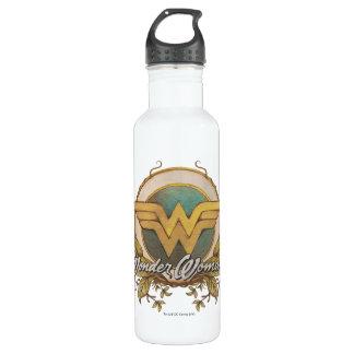 Bouteille D'eau En Acier Inoxydable Logo de croquis de feuillage de femme de merveille