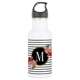 Bouteille D'eau En Acier Inoxydable Monogramme floral rayé blanc noir Girly de Boho