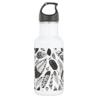 Bouteille D'eau En Acier Inoxydable Motif noir et blanc de plumes